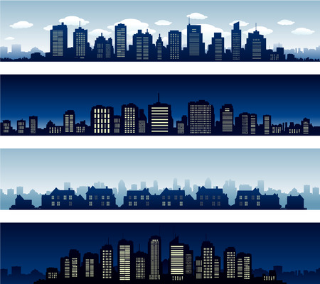 City panoramas buildings at night and day Illustration