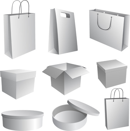 Set of paper bags and boxes Illustration for branding Vector