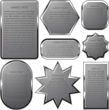 label frame: Silver vector label frame