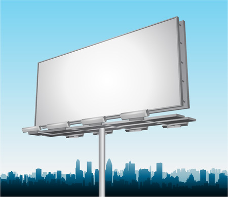the roadside: highway ad billboard roadside with cityscape in background Illustration