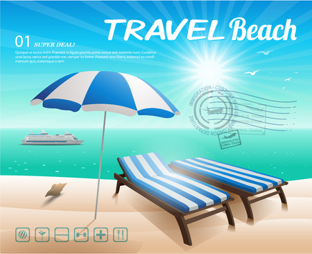 chaise longue: Beach chair and umbrella on sand beach illustration background