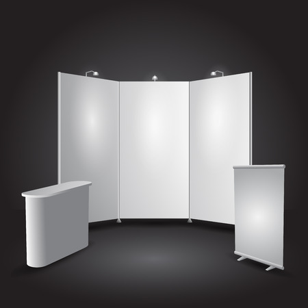 Expo stand exhibit illustration object all separated
