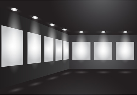 market place: Gallery Interior with empty frames on wall