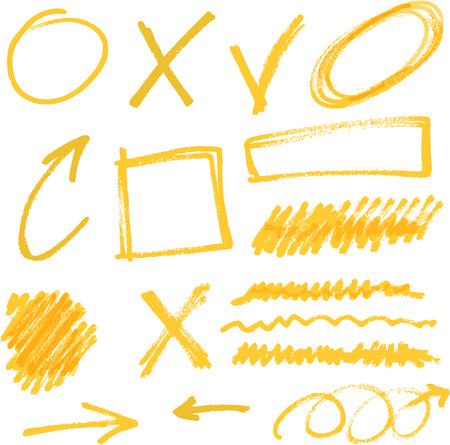 rotulador: elementos vectoriales resaltador amarillo dibujado a mano Vectores