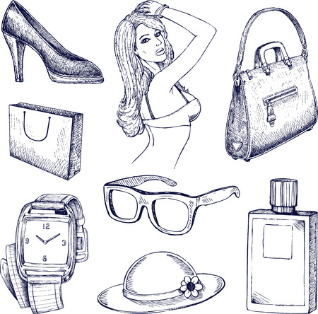 Hand drawn vector fashion elements illustration Vector