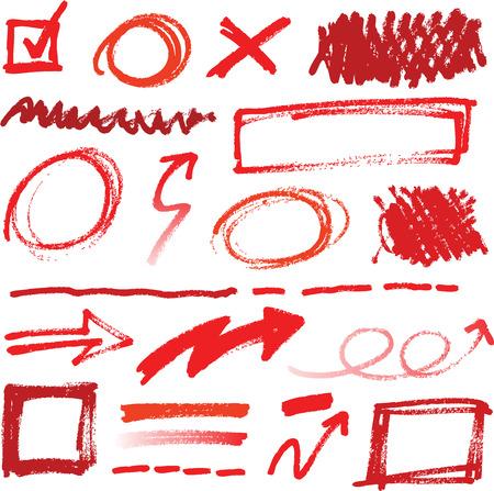 Colección de correcciones a lápiz de color rojo los elementos a mano Foto de archivo - 28069867