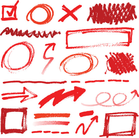 asterix: Collection of hand-drawn red pencil corrections elements