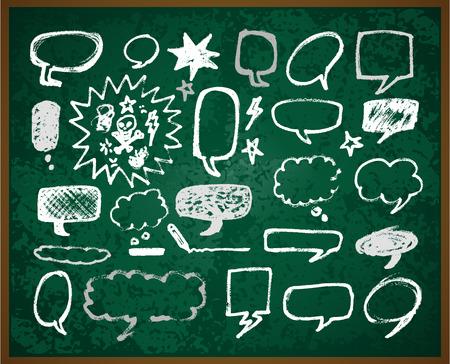 hand-drawn doodles illustration on green school board Ilustração