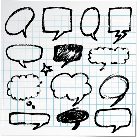 Collection of hand-drawn bubble black pen on paper sheet photo
