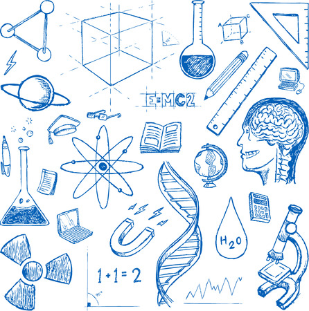 computer science: Sciences doodles icons Illustration