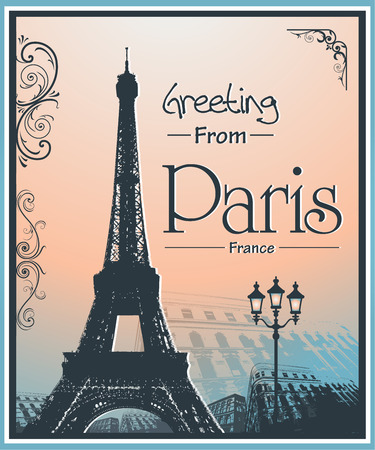 Copyspace Retro Style Poster With Paris Symbols and Landmarks