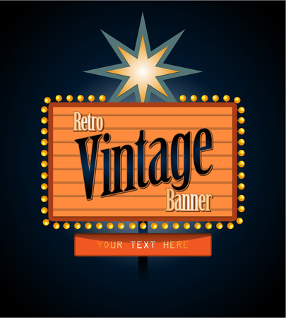 Retro banner motel sign Vector