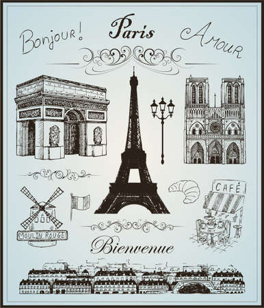 notre dame de paris: Paris collection elements hand drawn