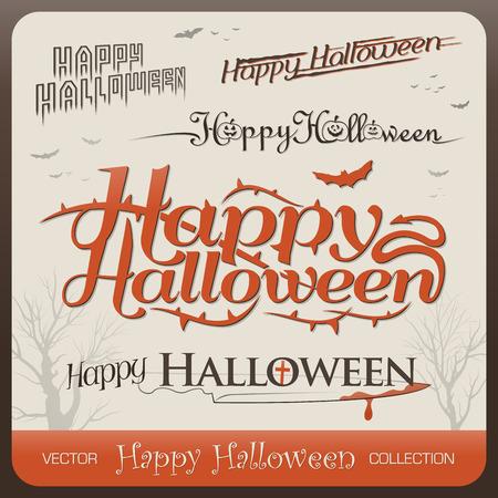 Set of happy halloween greetings decorative typography Vector