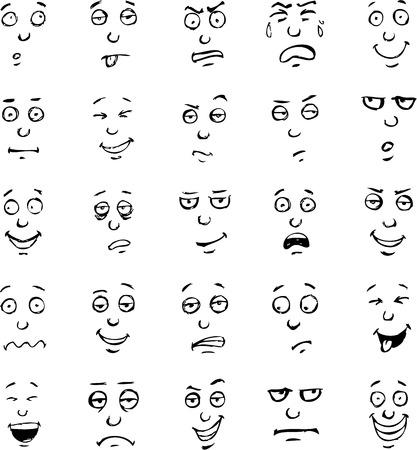 얼굴 표정: 만화 얼굴 감정의 손으로 그린 세트 일러스트