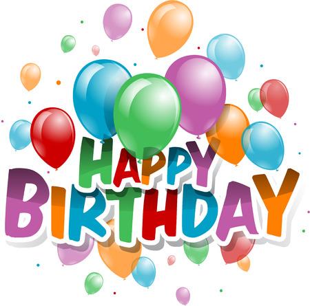 Illustration von einem Happy Birthday Grußkarte Standard-Bild - 29388767