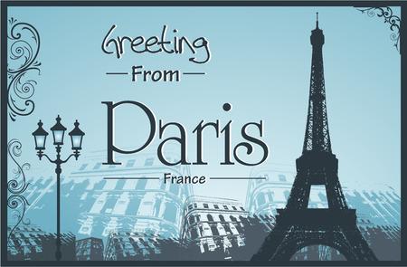パリのシンボルとランドマーク Copyspace レトロ スタイル ポスター  イラスト・ベクター素材
