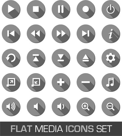 multimedia icons: Flat media icons with shadow