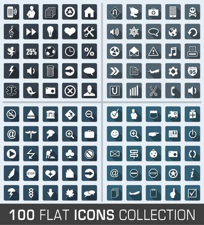 100 普遍的なフラットな近代的なアイコンのセット