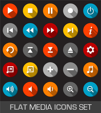 Flat media icons with shadow