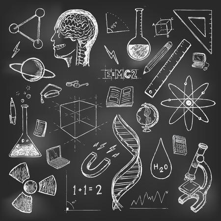 Wetenschappen doodles pictogrammen vector set School terugkeer
