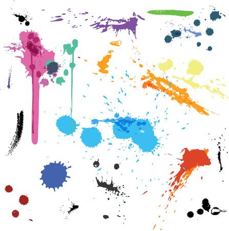 Colorful Abstract vector ink paint splats Illusztráció