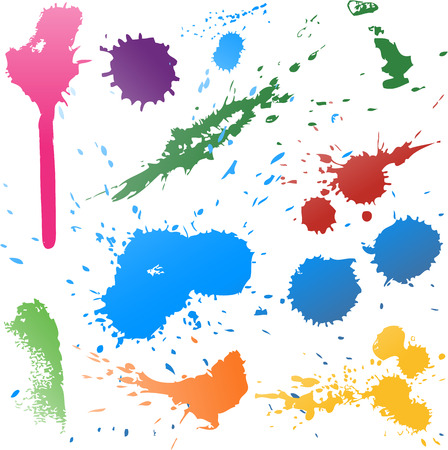 Colorful Abstract vector ink paint splats 일러스트