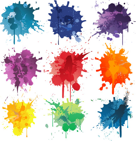 Colorful Abstract vector ink paint splats Çizim