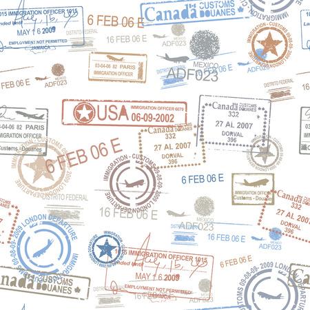 여행: 고무 여권 스탬프 기호 여행