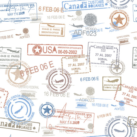 grunge: Rubber passport stamps travel symbol
