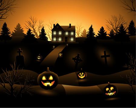 houses: Vector Halloween haunted house background