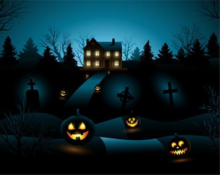 Blue Halloween invitation haunted house background Vector