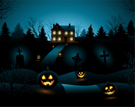 Blue Halloween invitation haunted house background