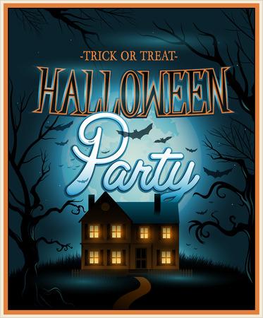 halloween party: Retro Halloween background party invitation