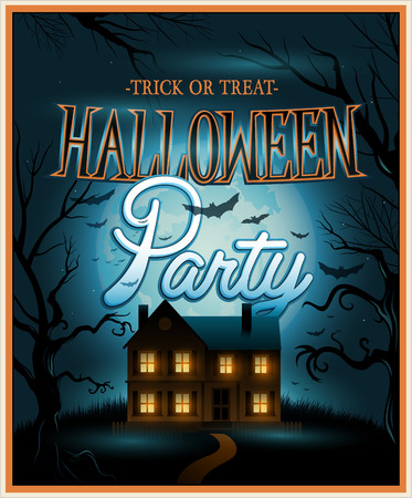 halloween party: Retro Halloween uitnodiging achtergrond partij Stock Illustratie