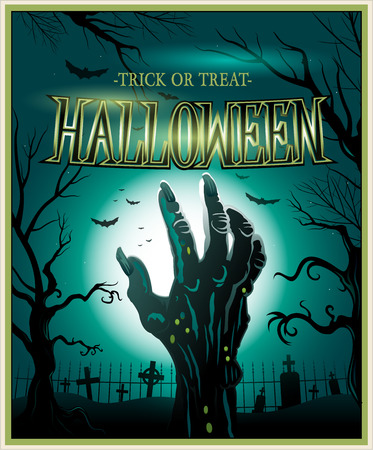 Zombie monster hand green Halloween background Vector