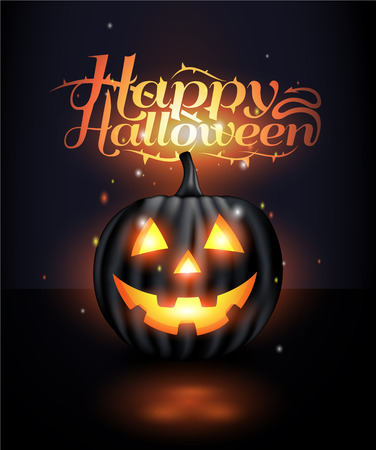 Dark Realistic jack o lantern Halloween background Illustration