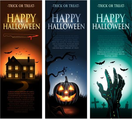 vertical: Vector vertical de la invitaci�n de Halloween banners Vectores