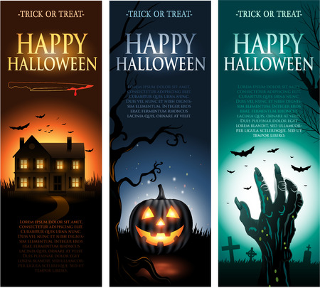 Vertical vector Halloween invitation banners Çizim