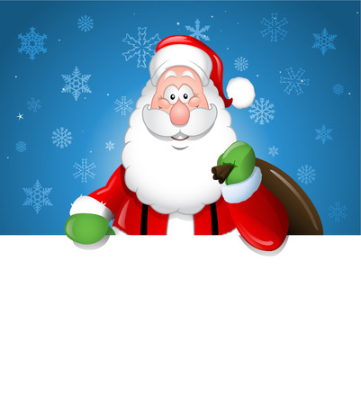 Cartoon Santa Claus over a white blank Vector