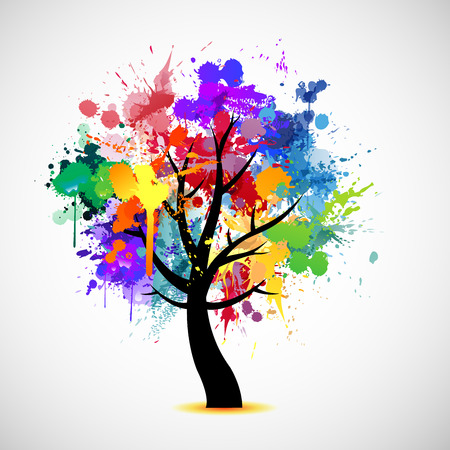 rainbow abstract: Multi colored paint splat abstract tree