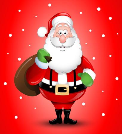 Smiling Cartoon Santa Claus illustration greeting