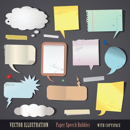 vector illustration set of textured paper speech bubbles Vector