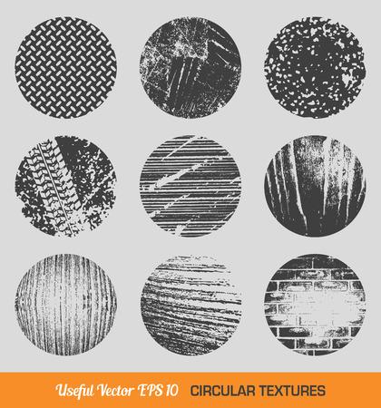 white matter: Set of vintage circular textures Illustration