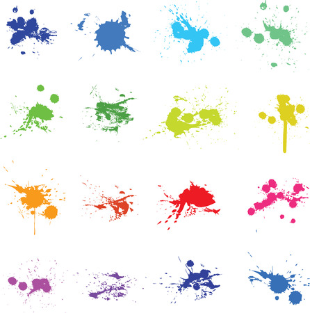 colorful paint: Set of color ink paint splat