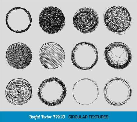 Hand drawn vintage circular textures Vector