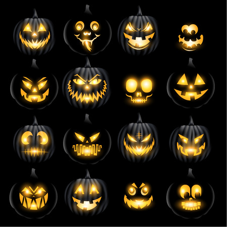 Set of jack o lantern pumkins halloween faces Illustration