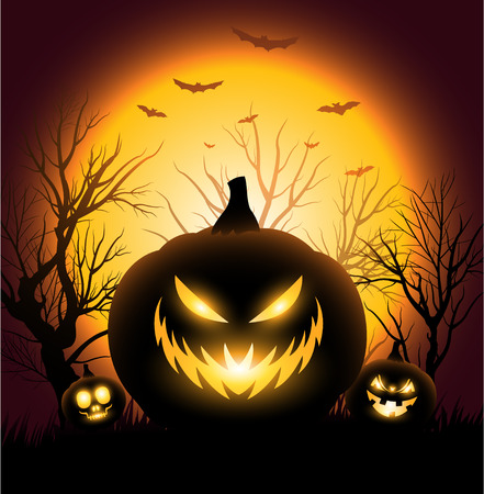 halloween tree: Creepy Halloween pumkin face copyspace background