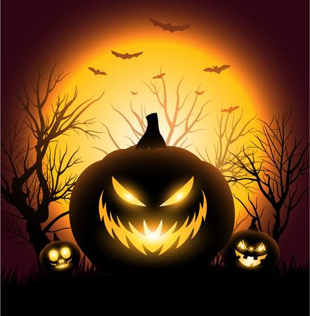 Berühmt Gruselige Halloween-Kürbis Gesicht Exemplar Hintergrund Lizenzfrei QM36