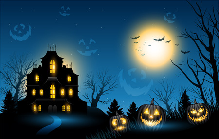 blue backgrounds: Halloween haunted house copyspace background Illustration